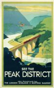 Peak District, England by London Midland & Scottish Railway. English Railway Travel Poster,See The Peak District